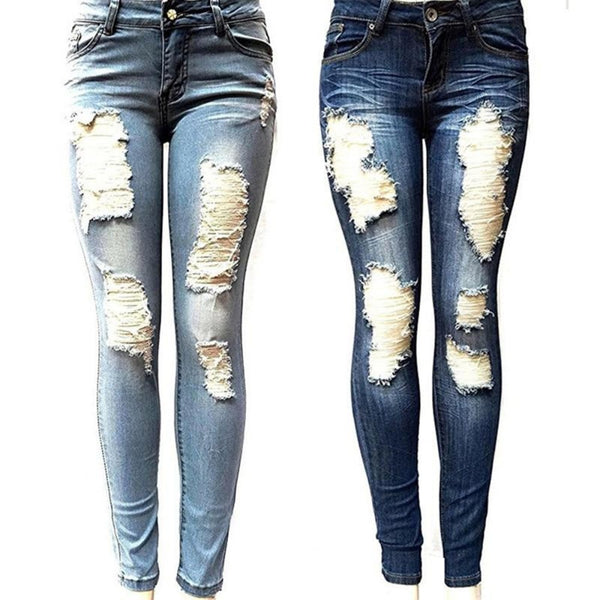 Women's Fully Ripped Skinny Jeans-Ladies Jeans-Product Details: Women's Fully Ripped Front Hole Skinny Jeans Material: Polyester, Cotton Length: Full Length Waist Type: Mid Decoration: Hole, Ripped Size Chart:-Keyomi-Sook