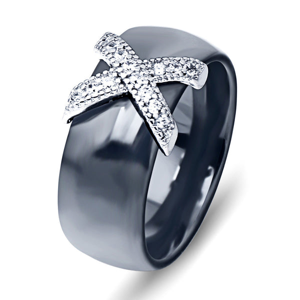 Black & White X Bow Ring-Ladies Rings-6-Black-Keyomi-Sook