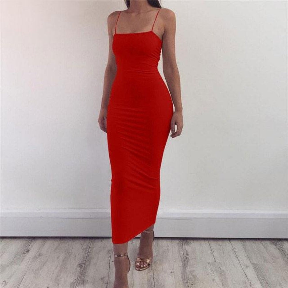 Women's Spaghetti Strap Maxi Dress-BodyCon Dresses-Red-S-Product Details: Women's Spaghetti Strap Bodycon Maxi Dress Material: Polyester, Spandex Dresses Length: Ankle-Length Sleeve Style: Spaghetti Strap Size Chart:-Keyomi-Sook