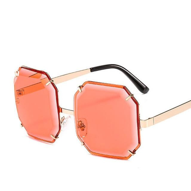 Women's Polygonal Cut Resin Lens Sunglasses-Ladies Sunglasses-D897 gold red-Product Detail: Women Luxury Brand Designer Polygonal Cut Resin Lens Fashion Square Sunglasses Lenses Material:Resin Frame Material: Alloy Style: Square Dimension: Lens Width: 59 mmLens Height: 59 mm-Keyomi-Sook