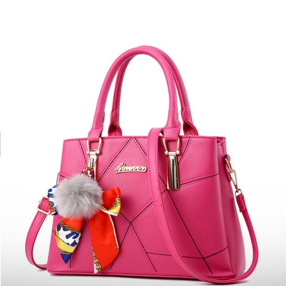 Women' Ribbon Bow Pom-Pom Leather Scarf Bag-Hot Pink-Max Length 31cm-Product Details: Women's Stylish Cross-body Leather Bag With Geometric Stitching. Lots Of Color Choices With Latest Designer Looks. Filigree Design Prints Scarfs Puffy Pom-Pom Accent. Item Type: Handbags Shape: Satchels Main Material: PU Handbags Type: Shoulder Bags Types of bags: Shoulder & Cross-body Bags Lining Material: Polyester Number of Handles/Straps: Single Decoration: Ribbons Style: Vintage Pattern Type: Geometric Clo