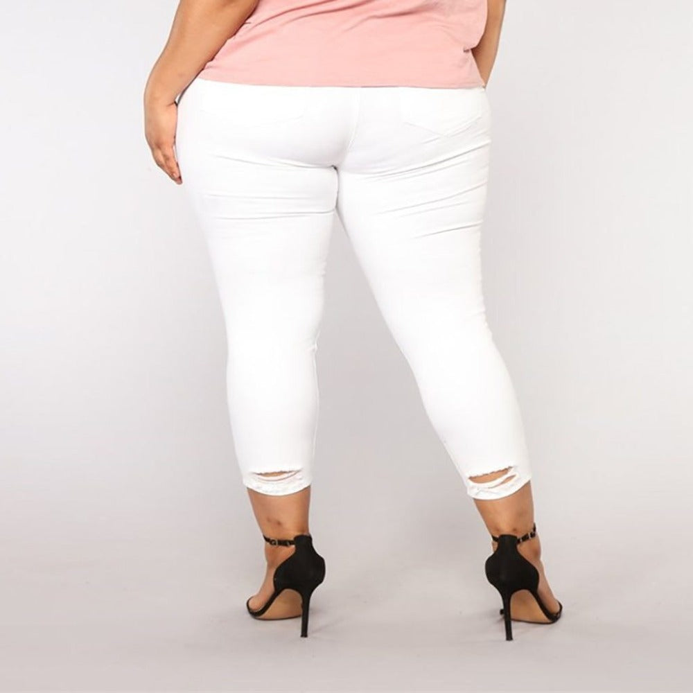 Women'S Hole High Waist Pencil Pants-Ladies Jeans-Product Details: Women's Hole High Waist Stretch Slim Pencil Pants Item Type: Jeans Material: Polyester Length: Full Length Wash: Light Closure Type: Zipper Fly Waist Type: Mid Decoration: Washed, Pockets, Hole Fabric Type: Softener Fit Type: Regular Jeans Style: Pencil Pants Style: Casual Size Chart:-Keyomi-Sook