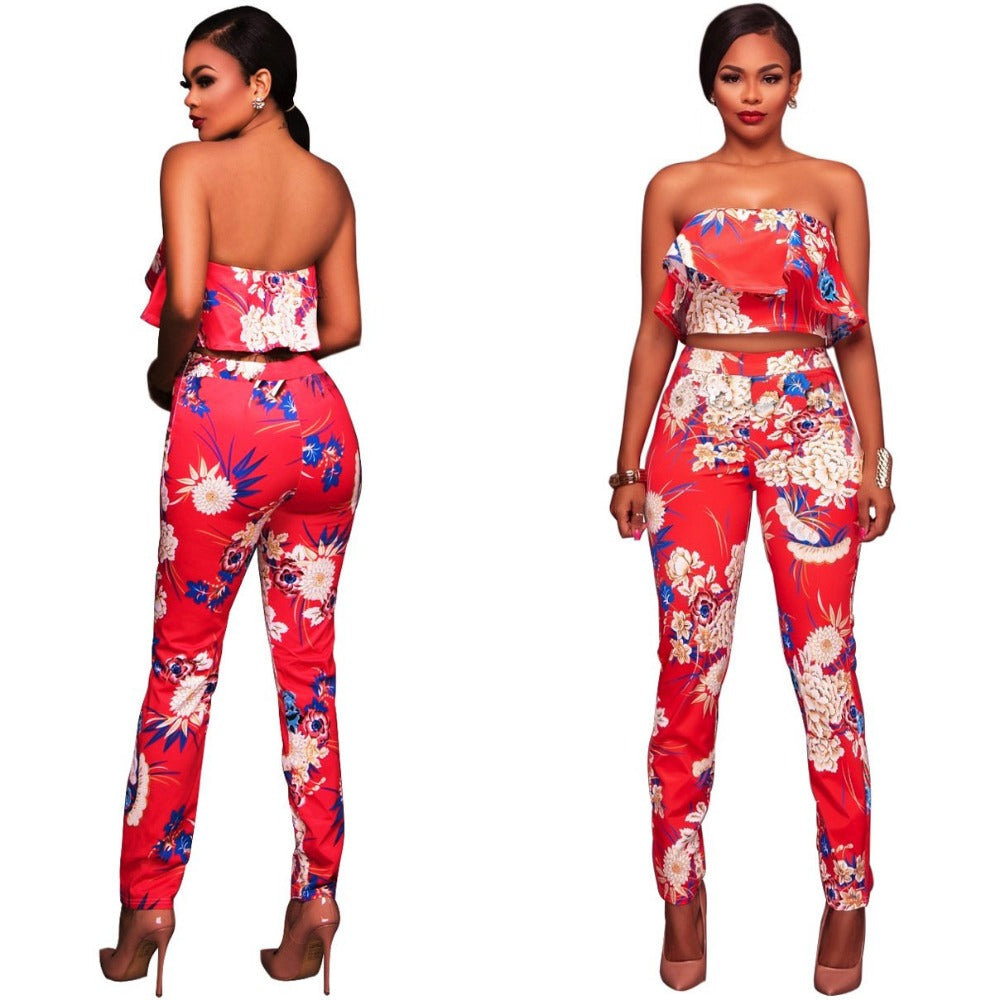 Ruffles Crop Top And Pants Floral Set-Rompers, Jumpers & Sets-Red-S-Product Details: Summer Women Clothes Flower two piece set Print off shoulder crop top Ruffles cropped Tops Pants Pattern suit Material: polyester Size Chart:-Keyomi-Sook