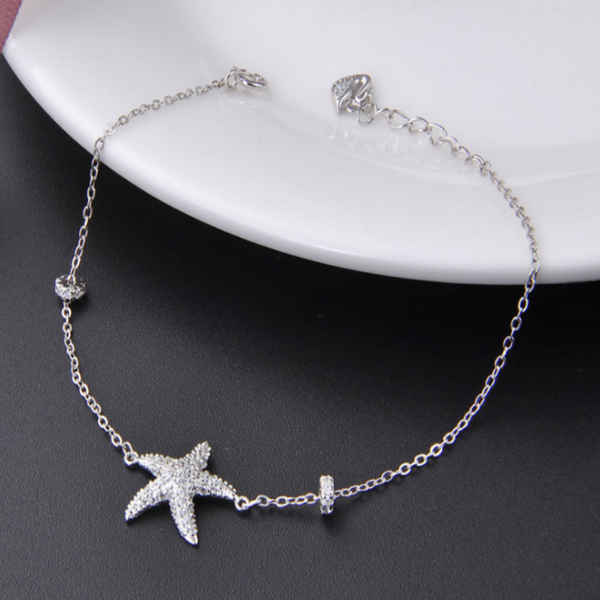 Adjustable Starfish Bracelet-Ladies Bracelets-Product Detail: New Silver Color Starfish Bracelet & Bangle Adjustable Charm Bracelet For Women Bridal Wedding Jewelry Material: Copper, Environmental Metal, Nickel, Lead and Cadmium Free Dimension: Pendant Length: 20 mm Pendant Width: 23 mm-Keyomi-Sook