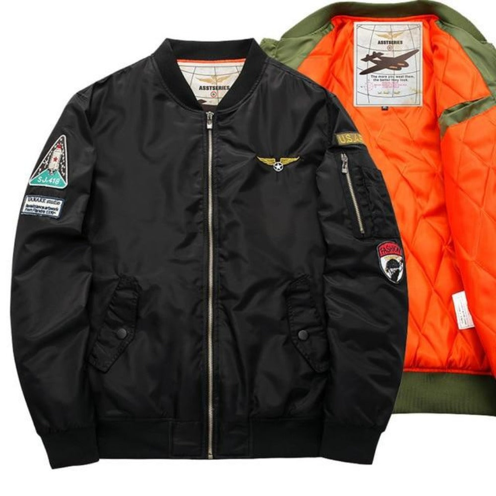 S-6XL Men's Army Green Bomber Jacket-Men's Jackets, Coats & Sweaters-6-Patch BlK-S-Product Details: Thick And Thin Army Green Military Motorcycle Ma-1 Aviator Pilot Air Men Bomber Jacket Lining Material: Polyester Material: Polyester, Nylon Cuff Style: Conventional Collar: V-Neck Size Chart: M/165-170cm suitable weight(50kg-56kg) L/170-173cm suitable weight(56kg-61kg) XL/174-175cm suitable weight(62kg-70kg) XXL/176-180cm suitable weight(75kg-85kg) 3XL/176-180cm suitable weight(80kg-90kg) 4XL/175