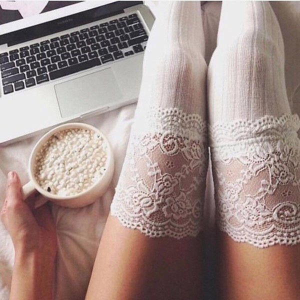 Women's Cable Knot Over Knee Lace Stockings-Ladies Socks-White-Product Details: Women's Cable Knit Over Knee Long Booth Lace Stockings Material: Cotton Blend Length: About 65cm Elastic-Keyomi-Sook