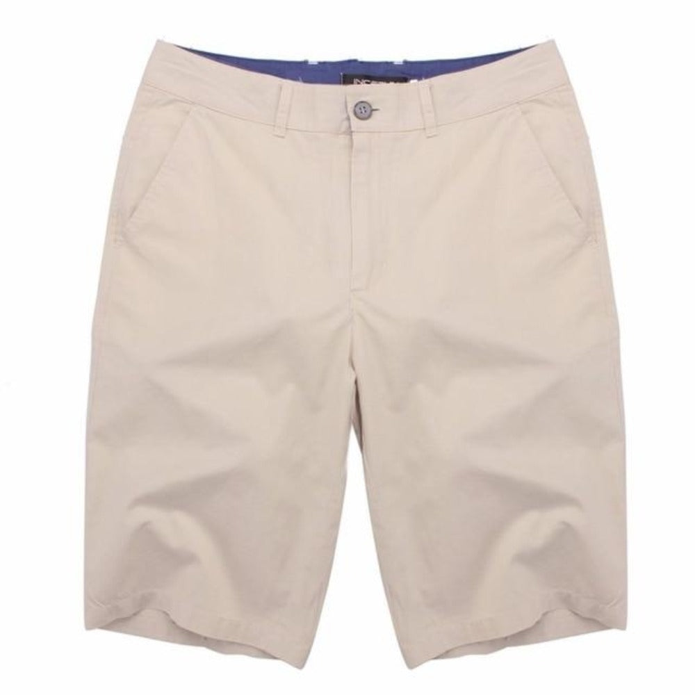 Men's Cotton Knee Length Summer Shorts-Mens Pants and Shorts-Beige-30-Product Details: Men's Cotton Knee Length Vintage Casual Summer Shorts Item Type: Shorts Style: Casual Material: Polyester, Cotton Waist Type: Mid Closure Type: Zipper Fly Fit Type: Straight Length: Knee Length Pant Style: Regular Pattern Type: Solid Color: Red, Navy, Khaki, Beige, Grey, Black, Army Green Package Include: 1 * Shorts Size Chart:-Keyomi-Sook