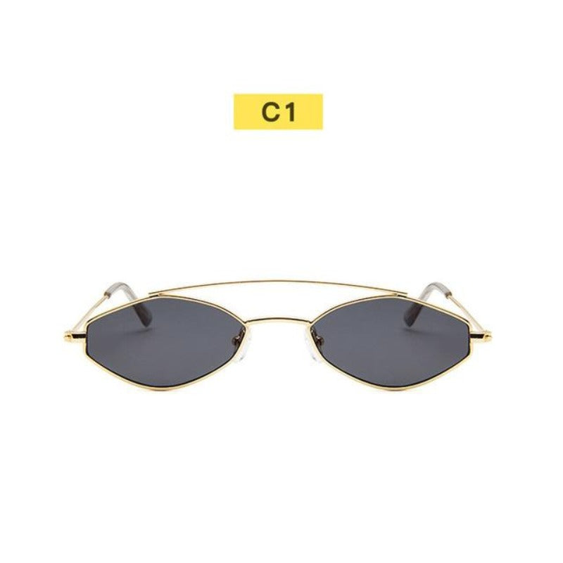 90's Oval Nose Resting Sunglasses-Ladies Sunglasses-C1-Blk Gold-Product Detail: 90s Sunglasses Women Retro Oval Sunglasses Lady Brand Designer Vintage Sunglasses Girls Eyeglasses UV400 Frame Material: Alloy Lenses Material: Acrylic Dimensions: Lens Height: 30 mm Lens Width: 52 mm-Keyomi-Sook