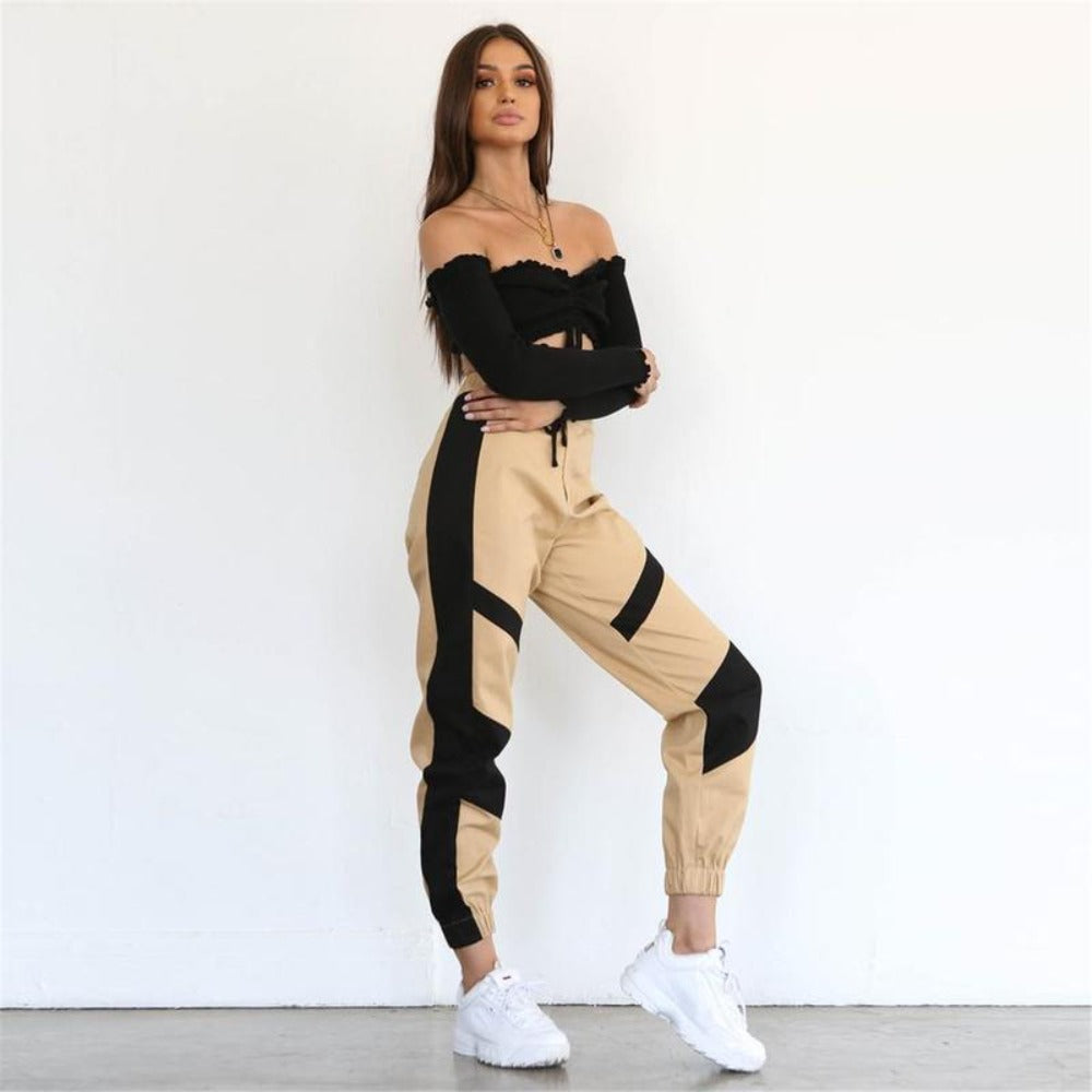 Women's Autumn Loose Cargo Pants-Women - Apparels - Pants - Trousers-Product Details: Women's Autumn Loose High Waist Cargo Pants Material: Polyester, Spandex, Cotton Size Chart:-Keyomi-Sook