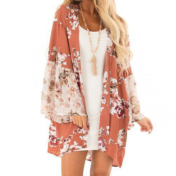 "Floral Print Cardigan-Kimono-Pink-S-Product Details: Women Casual Floral Print Kimono Cardigan Long Shirt For Women Autumn Long Sleeve Shirt Blusa Feminina Material: Polyester Clothing Length: Long Fabric Type: Broadcloth Collar: V-Neck Sleeve Style: Flare Sleeve Size Chart: Size Bust Sleeve Length Shoulder Length S 100cm/39.4'' 57CM/22.4"" 38cm/15.0'' 83cm/32.7'' M 104cm/40.9'' 58CM/22.8'' 39cm/15.4'' 84cm/33.1'' L 104cm/40.9'' 59CM/23.2'' 40cm/15.7'' 85cm/33.5'' XL 112cm/44.1'' 60CM/23.6'' 41cm"