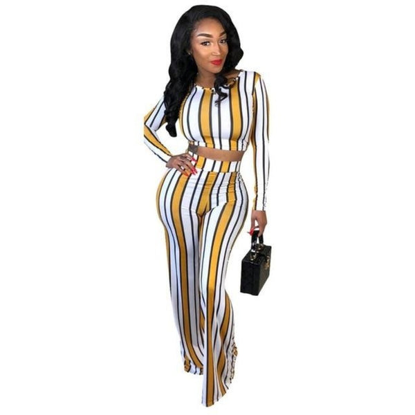Women's Striped Print Long Sleeve Top & Wide Leg Pants Set-Rompers, Jumpers & Sets-Multi-S-Product Details: Women's Striped Print Long Sleeve Top & Wide Leg Pants Outfit Tracksuit Set Material: Polyester, Spandex Size Chart:-Keyomi-Sook