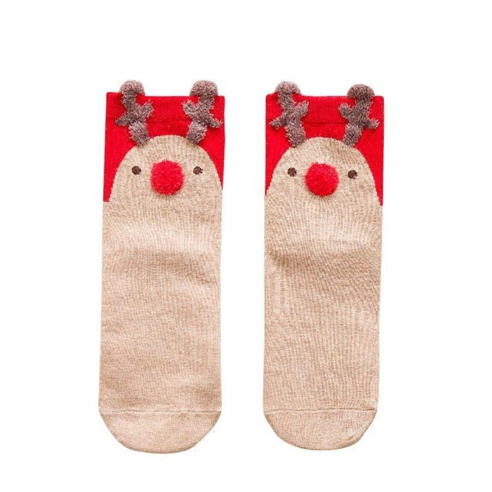 Women'S Cotton Cartoon David'S Deer Christmas Socks-Ladies Socks-Product Details: Women's Cotton Cartoon David's Deer Casual Winter Christmas Socks Package included: 1 Pair Socks One size: EU 36-41-Keyomi-Sook