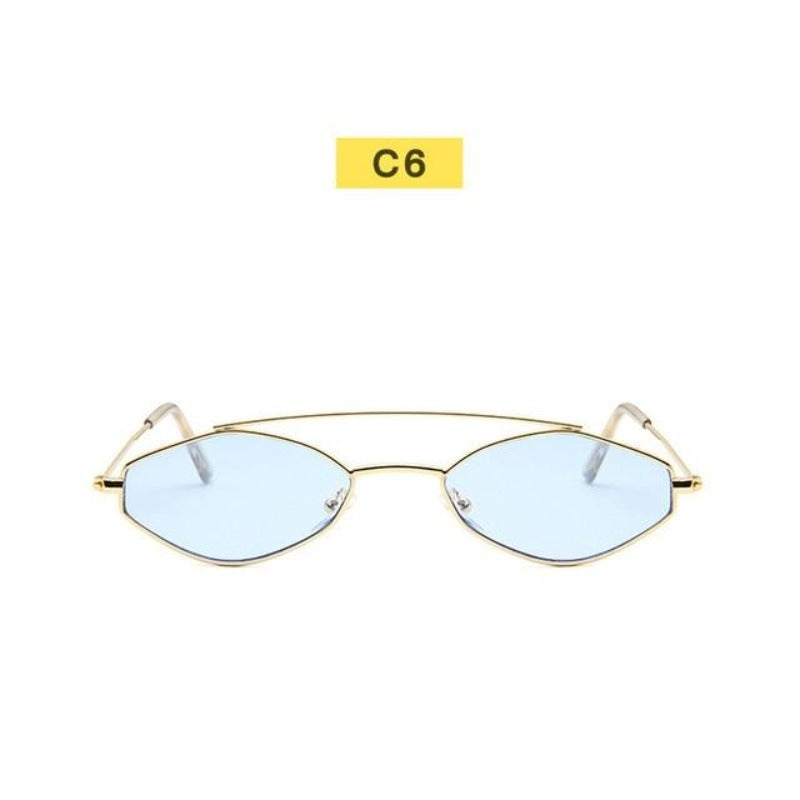90's Oval Nose Resting Sunglasses-Ladies Sunglasses-C6-Sky Blu Gold-Product Detail: 90s Sunglasses Women Retro Oval Sunglasses Lady Brand Designer Vintage Sunglasses Girls Eyeglasses UV400 Frame Material: Alloy Lenses Material: Acrylic Dimensions: Lens Height: 30 mm Lens Width: 52 mm-Keyomi-Sook