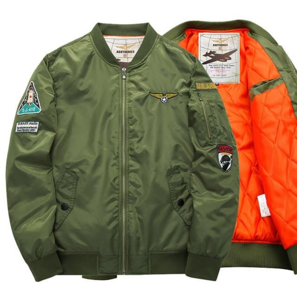 S-6XL Men's Army Green Bomber Jacket-Men's Jackets, Coats & Sweaters-4-Patch GR-S-Product Details: Thick And Thin Army Green Military Motorcycle Ma-1 Aviator Pilot Air Men Bomber Jacket Lining Material: Polyester Material: Polyester, Nylon Cuff Style: Conventional Collar: V-Neck Size Chart: M/165-170cm suitable weight(50kg-56kg) L/170-173cm suitable weight(56kg-61kg) XL/174-175cm suitable weight(62kg-70kg) XXL/176-180cm suitable weight(75kg-85kg) 3XL/176-180cm suitable weight(80kg-90kg) 4XL/175-