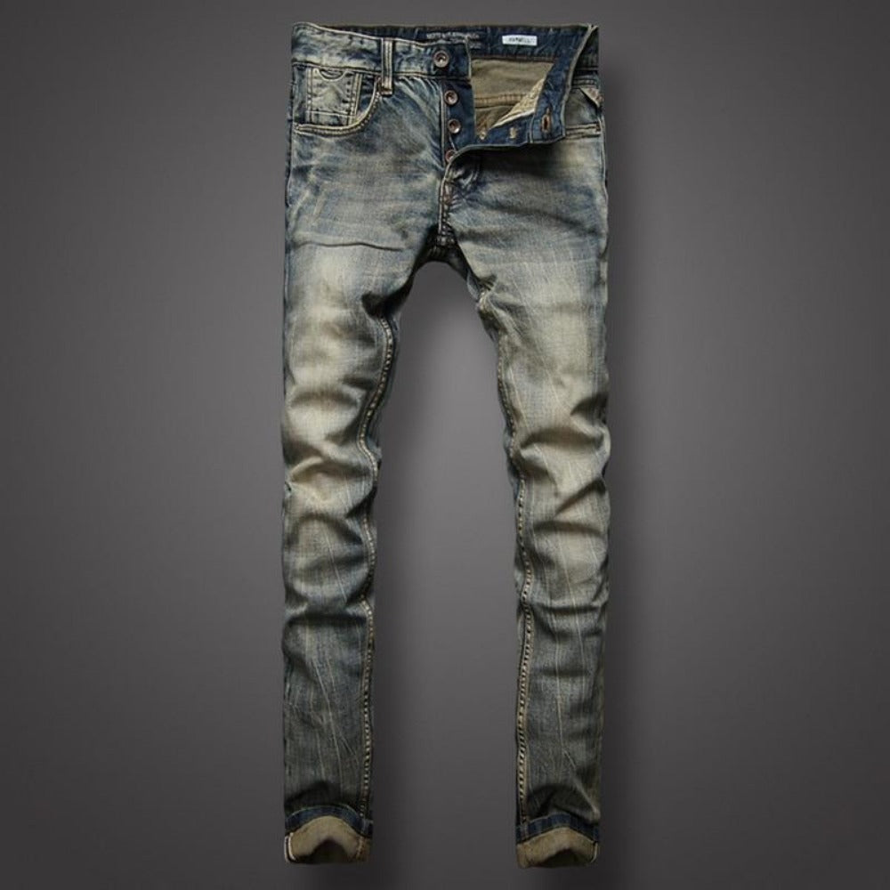 Men's Italian Style Classic Denim Jeans-Men's Jeans-RL617-29-Product Details: Men's Italian Style Slim Fit Buttons Retro Classic Denim Jeans Material: Denim, Cotton Decoration: Scratched Length: Full Length Waist Type: Mid Fabric Type: Stripe Thickness: Midweight Size Chart:-Keyomi-Sook