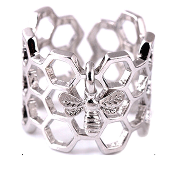 Bee & Honeycomb Adjustable Open Full Finger Ring-Ladies Rings-Resizable-Platinum Plated-Keyomi-Sook