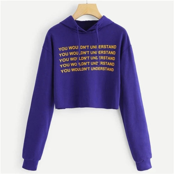 Women's You Wouldn'T Understand Print Crop Top Sweatshirt-Sweaters & Sweatshirts-Purple-S-Product Details: Women's Purple You Wouldn't Understand Print Drawstring Pullover Crop Top Sweatshirt Item Type: Hoodies, Sweatshirts Pattern Type: Letter Sleeve Style: Regular Clothing Length: Short Hooded: Yes Collar: Hooded Type: Pullovers Fabric Type: Broadcloth Material: Polyester Size Chart:-Keyomi-Sook