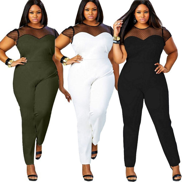 Plus Size L-4XL Illusion Lace Neck Rompers-+Belles Rompers, Jumpers, & Sets-Product Detail: Big Size Casual Office Work Summer Women Jumpsuit O-Neck Patchwork Lace Jumpsuit Large Size Rompers Material: Polyester, SpandexPattern Type: Patchwork Size Chart:-Keyomi-Sook