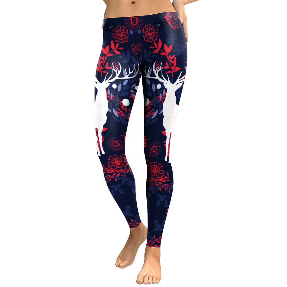 Women'S Sika Deer Digital Print Leggings-Women - Apparel - Activewear - Leggings-KDK1761-S-Product Details: Women's Sika Deer Digital Print Plus Size Fitness Leggings Main Material: Polyester 88%, Spandex 11% Size Chart:-Keyomi-Sook