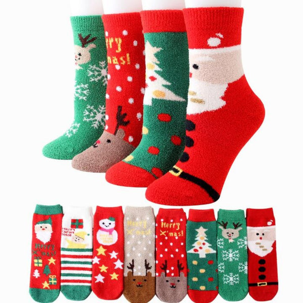 Women's Coral Velvet Christmas Stockings-Holidays-Product Details: Women's Coral Velvet Wearable Christmas Stockings Material: Coral Fleece Dimensions: Natural Length of the Sole: 16.5 cm High Length of Socks: 12.5 cm-Keyomi-Sook