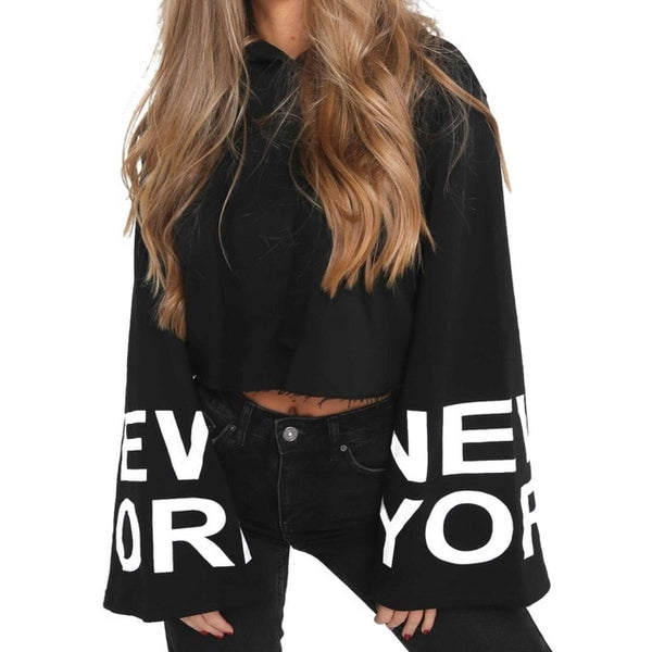 "NY Print Long Bell Sleeve Hoodie-Ladies Urban-Black-S-Product Details: Pullover for Women Kimono Long Sleeve Shirts Hooded Black Letters Print Girls Harvest Hooded Sweatshirt Street-wear Tops Hooded: Yes Fabric Type: Broadcloth Collar: Hooded Material: Polyester, Cotton Size Chart: ""Size Bust Sleeve Shoulder Length S 90 cm/35.4"""" 54 cm/21.2"""" 47 cm/18.5"""" 48 cm/18.8"""" M 98 cm/38.5"""" 55 cm/21.6"""" 48 cm/18.9"""" 49 cm/19.2"""" L 106 cm/41.7"""" 56 cm/22.0"""" 49 cm/19.3"""" 50 cm/19.6"""" XL 114 cm/44.8"""" 57"