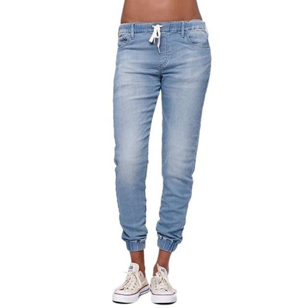 Women's High Waist Plus Size Jogger Pants-Women's Casual-Sky blue-S-Product Details: Women's Autumn High Waist Plus Size Vintage Jogger Pants Material: Polyester, Cotton Length: Full Length Closure Type: Drawstring Waist Type: Mid Decoration: Pockets, Sashes Size Chart:-Keyomi-Sook