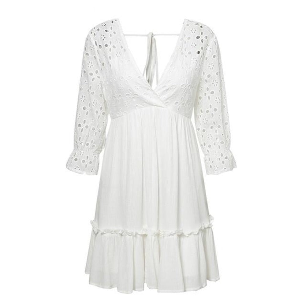 Women's V-Neck Embroidery Lace Up Ruffle Dress-Dresses-WHITE-S-Product Details: Women's V-neck Embroidery Ruffle Pleated Lace Up Hollow Out Dress Material: Cotton Style: Casual Silhouette: A-Line Pattern Type: Solid Sleeve Length (cm): Half Decoration: Embroidery Dresses Length: Above Knee, Mini Sleeve Style: Regular Waistline: Empire Neckline: V-Neck Season: Spring Size Chart:-Keyomi-Sook