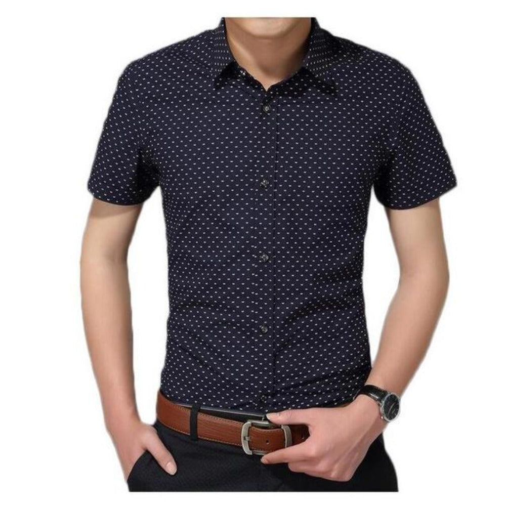 Men'S Polka Dot Short Sleeve Shirt M-5Xl-Men's Polos & Dress Shirts-Dark blue-M-Product Details: Men's Polka Dot Plus Size Short Sleeve Casual Shirt Item Type: Shirts Shirts Type: Casual Shirts Material: Cotton Sleeve Length (cm): Short Collar: Turn-down Style: Casual Fabric Type: Broadcloth Sleeve Style: Regular Pattern Type: Polka Dot Closure Type: Single Breasted Size Chart:-Keyomi-Sook