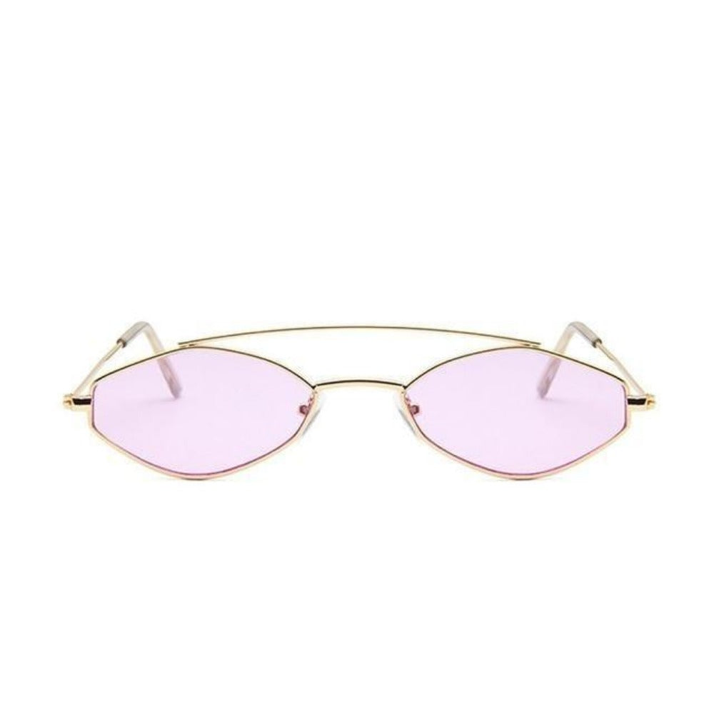 Women's Nose Resting Cat Eye Sunglasses-Ladies Sunglasses-D879 gold purple-Product Details: Women's Nose Resting Cat Eye Retro Small Double Beam Sunglasses Lenses Optical Attribute: Gradient, UV400 Lenses Material: Resin Style: Cat Eye Frame Material: Alloy Dimensions:-Keyomi-Sook