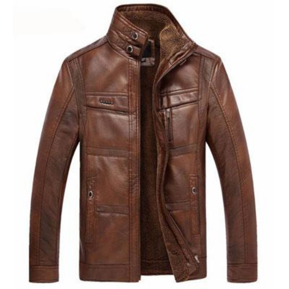 Men's Mountainskin Leather Jacket-Men's Jackets-Light Coffee-M-Product Details: Men's Mountainskin Leather Winter Faux Fur Leather Jacket Material: PU, Faux Leather Lining Material: Cotton Thickness: Fleece Decoration: Pockets Fabric Type: Batik Collar: Mandarin Closure Type: Zipper Size Chart:-Keyomi-Sook