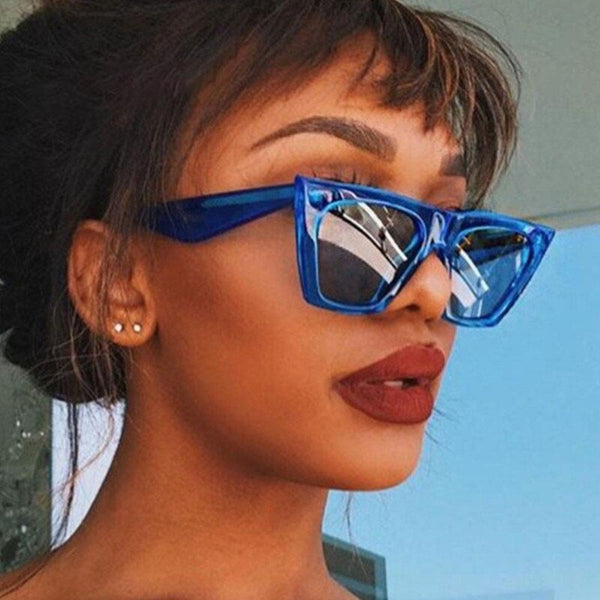 Women's Cat Eye Square Plastic Frame Sunglasses-Ladies Sunglasses-Product Details: Women's Cat Eye Square Plastic Frame Oversized Sunglasses Style: Square Lenses Optical Attribute: Anti-Reflective, UV400 Frame Material: Alloy Lenses Material: Acrylic Size Chart:-Keyomi-Sook