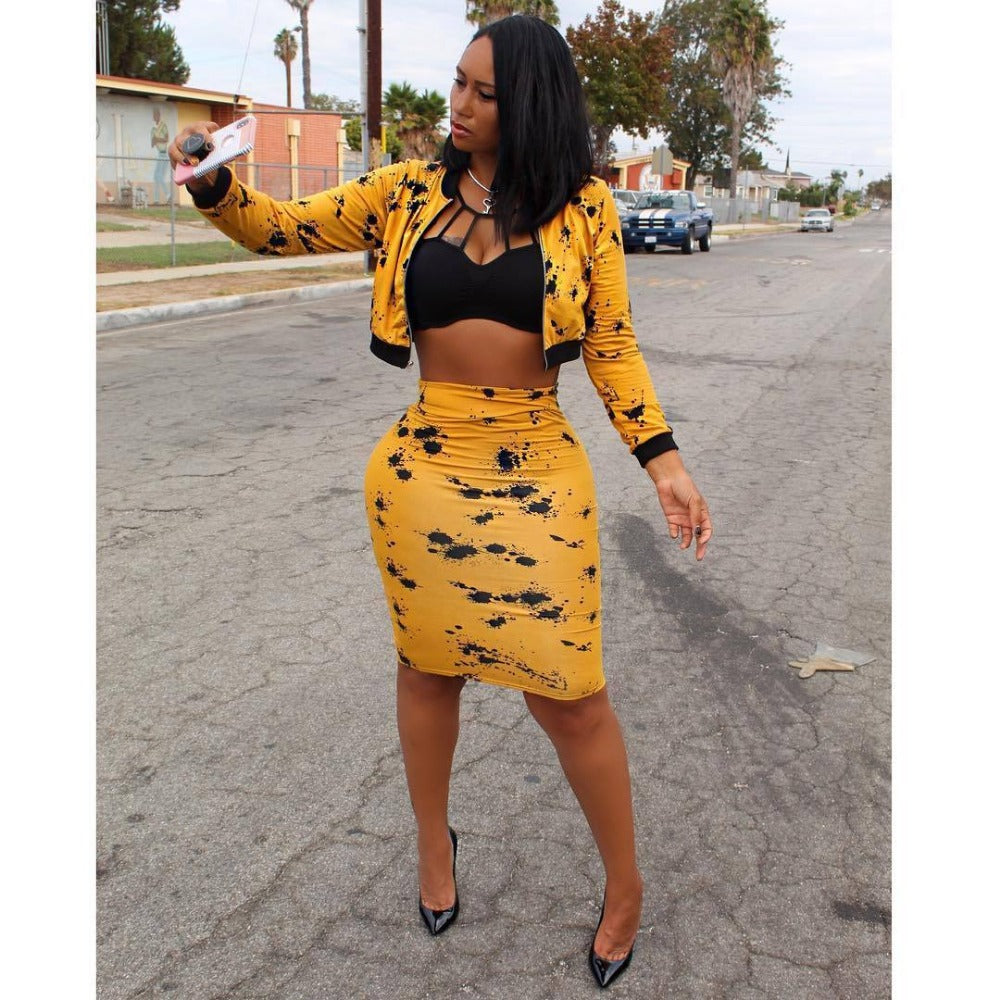 Women'S Black & Yellow Print Crop Top & Midi Skirt Set-Crop/Halter Tops & Bralettes-Yellow-S-Product Details: Women's Black & Yellow Print Long Sleeve Front Zipper Crop Top & Midi Skirt Set Material: Polyester, Spandex, Cotton Size Chart:-Keyomi-Sook