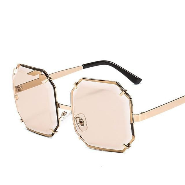 Women's Polygonal Cut Resin Lens Sunglasses-Ladies Sunglasses-D897 champagne-Product Detail: Women Luxury Brand Designer Polygonal Cut Resin Lens Fashion Square Sunglasses Lenses Material:Resin Frame Material: Alloy Style: Square Dimension: Lens Width: 59 mmLens Height: 59 mm-Keyomi-Sook