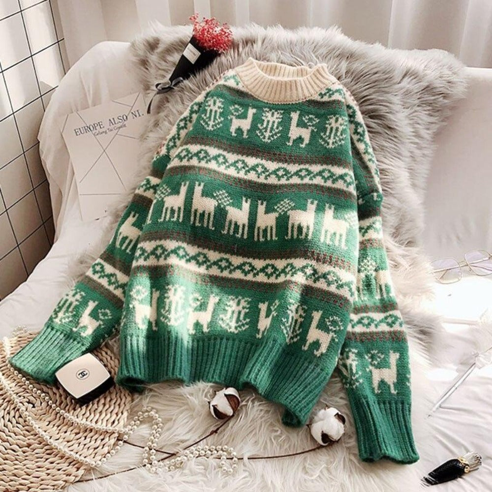 Women's O-Neck Wild Loose Christmas Sweater-Sweaters & Sweatshirts-Green-One Size-Product Details: Women's O-neck Full Warm Wild Pullover Loose Christmas Sweater Dimensions: Shoulder: 58 cm Bust: 107 cm Length: 53 cm Sleeve: 41 cm-Keyomi-Sook