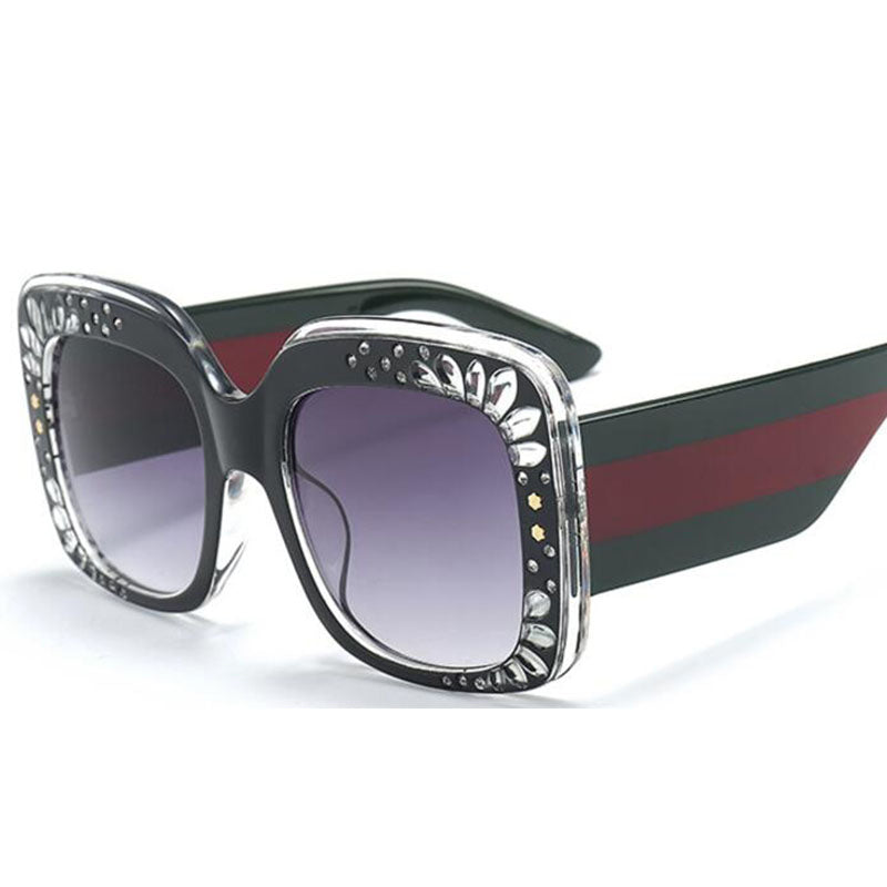 Side Striped Oversized Rhinestone Sunglasses-Ladies Sunglasses-Product Details: Oversized Rhinestone Sunglasses Women luxury Brand Shades Big Frame Ladies Trendy Sunglasses Style: Square Lenses Material: Polycarbonate Dimensions: Lens Height: 47 mm Lens Width: 52 mm-Keyomi-Sook
