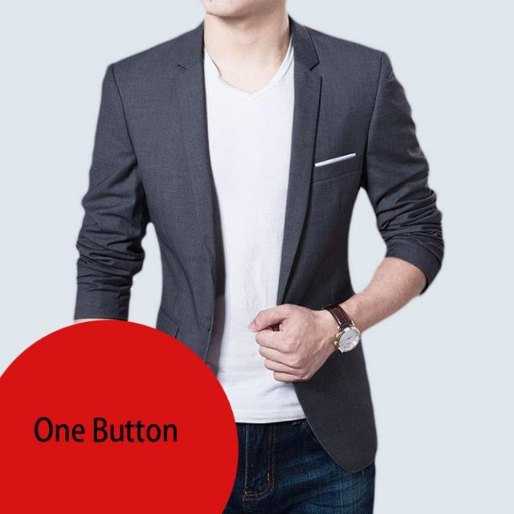 Breasted Two Button Blazer Jacket-Men's Jackets, Coats & Sweaters-gray one button-M-Product Details: Mens Slim Fit Elegant Blazer Jacket Brand Single Breasted Two Button Party Formal Business Dress Suit Size Chart:-Keyomi-Sook