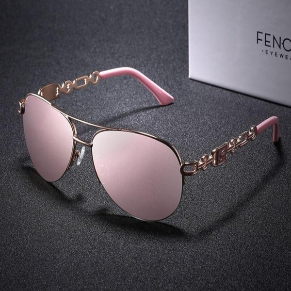 Women's Designer Brand Sunglasses-Ladies Sunglasses-Product Details: Women's Designer Brand Luxury Sunglasses Style: Pilot Lenses Optical Attribute: UV400, Mirror, Anti-Reflective, Gradient Frame Material: Stainless Steel Lenses Material: Polycarbonate Dimensions: Lens Height: 48 mm Lens Width: 60 mm-Keyomi-Sook