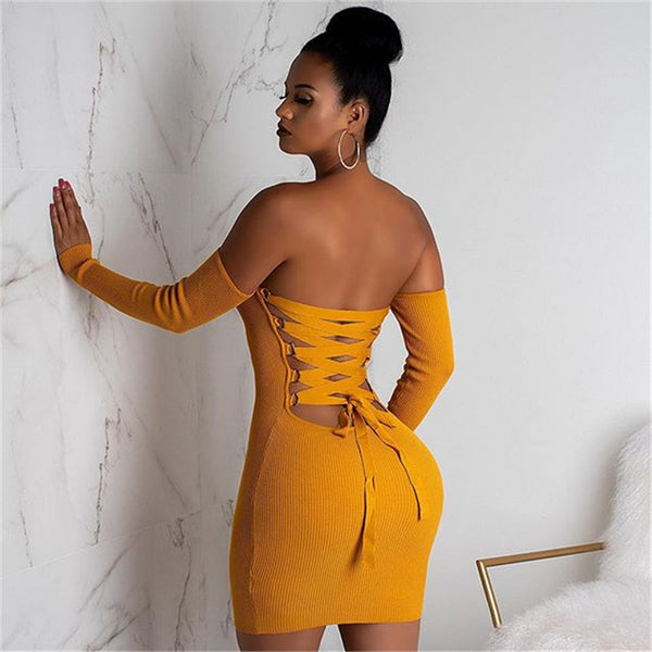 Knitted Mini Strapless Bandage Dress-Letz Go Out-Product Details: Knitted Long Sleeve Mini Bandage Dress Club Party Off Shoulder Backless Lace Up Bodycon Dresses Material: Polyester, Spandex, Cotton Size Chart: Bust Waist Hip Length S / 61 cm 82 cm 60 cm M / 67 cm 88 cm 62 cm L / 74 cm 95 cm 64 cm XL / 81 cm 102 cm 66 cm-Keyomi-Sook