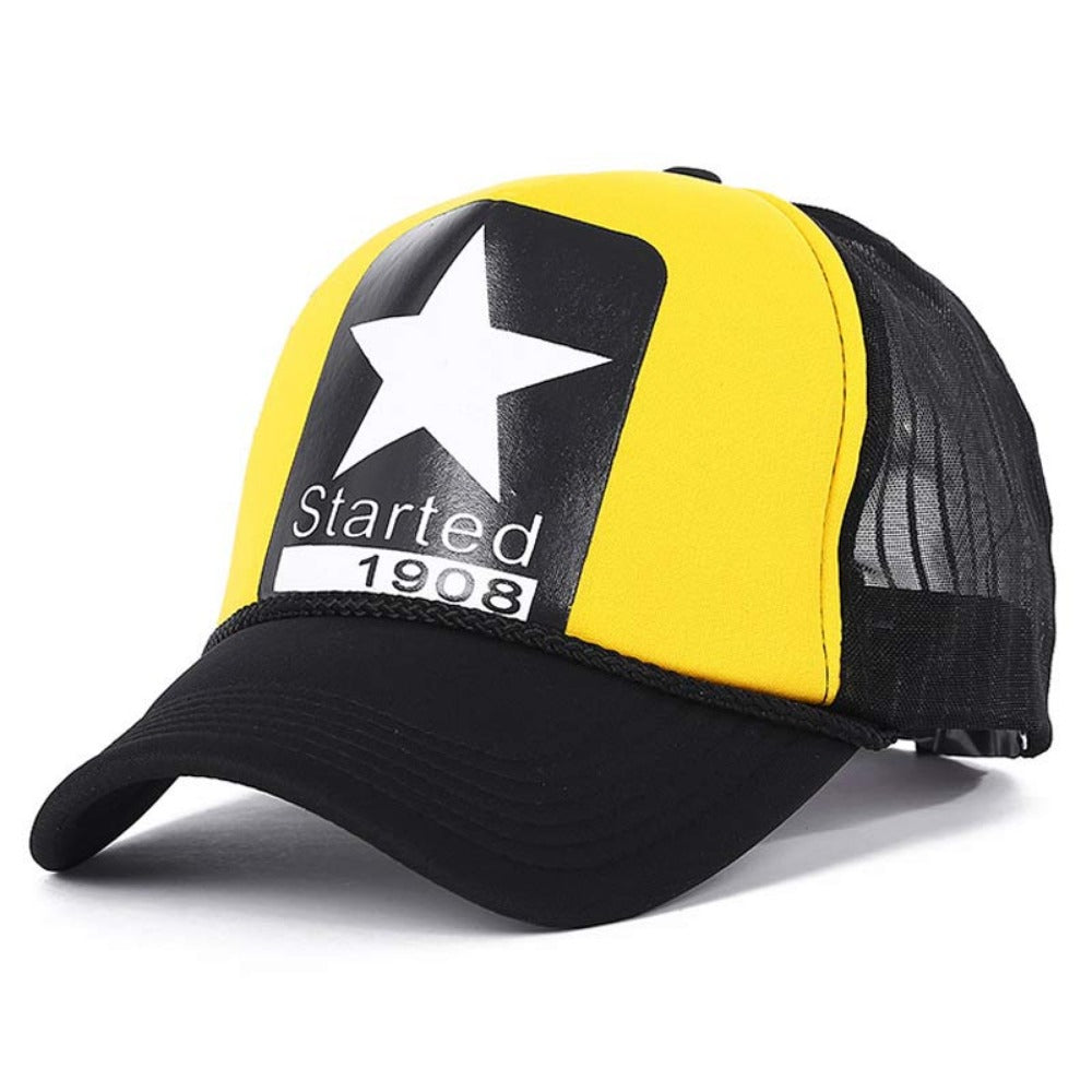 Men's Cartoon Dead Eyes Adjustable Baseball Cap-Men's Hats-yellow Star-Product Details: Men's Dead Eyes Character Adjustable Strap Mesh Back Panel Urban Baseball Snapback Material: Polyester Hat Size: One Size Head Circumference: 58 - 60 cm, Adjustable Size-Keyomi-Sook