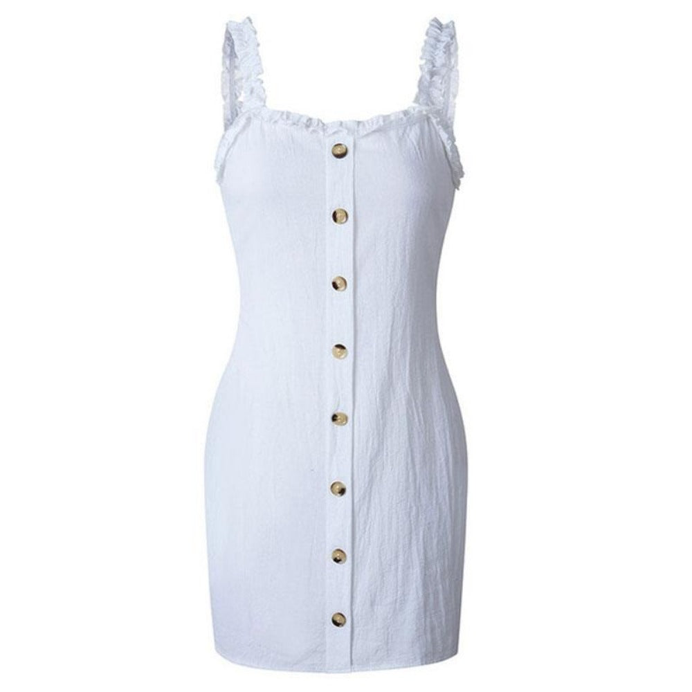 Strap Wrap Bodycon Dress-White-S-Product Details: Women Sexy Bodycon Summer Dress Beach Strap Wrap Dress Material: Polyester Silhouette: Sheath Decoration: Button Dresses Length: Above Knee, Mini Sleeve Style: Spaghetti Strap Waistline: Natural Neckline: Slash Size Chart:-Keyomi-Sook