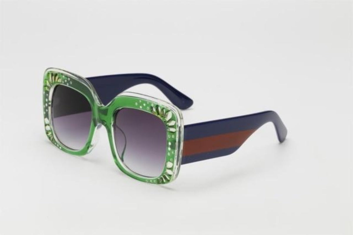 Side Striped Oversized Rhinestone Sunglasses-Ladies Sunglasses-c5 green gray-Product Details: Oversized Rhinestone Sunglasses Women luxury Brand Shades Big Frame Ladies Trendy Sunglasses Style: Square Lenses Material: Polycarbonate Dimensions: Lens Height: 47 mm Lens Width: 52 mm-Keyomi-Sook
