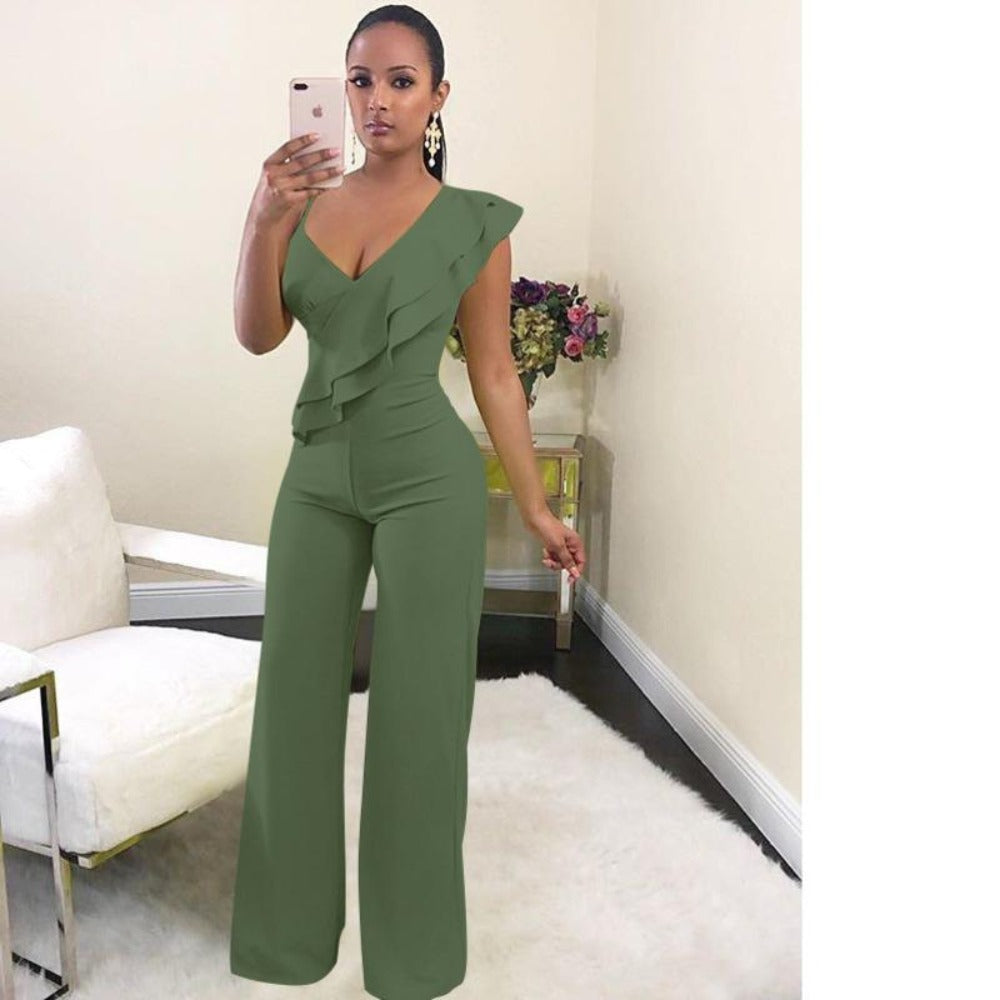 Women's One Shoulder Ruffles & Wide Pants Jumpsuit-Rompers, Jumpers & Sets-army green-S-Product Details: Women's V Neck One Shoulder Ruffles & Long Wide Leg Pants Jumpsuit Material: Cotton, Polyester Length: Full Length Style: Sexy & Club Fit Type: Loose Pattern Type: Solid Decoration: Ruffles Fabric Type: Broadcloth Size Chart:-Keyomi-Sook