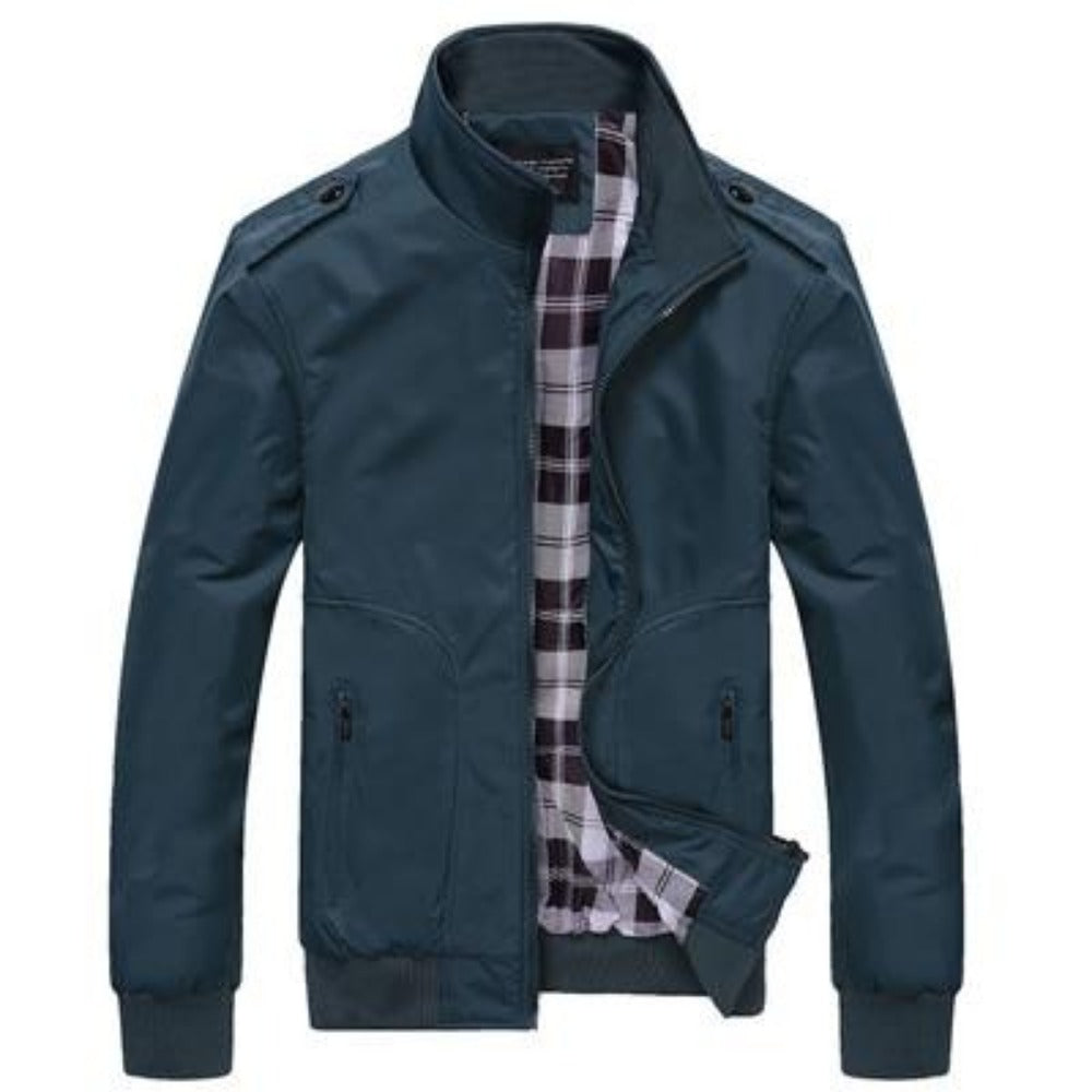 Men's Stand Collar Slim Jacket-Men's Jackets-Green-M-Product Details: Men's Stand Collar Slim Casual Bomber Jackets Collar: Stand Lining Material: Polyester Material: Polyester Cuff Style: Conventional Decoration: Pockets Closure Type: Zipper Size Chart:-Keyomi-Sook