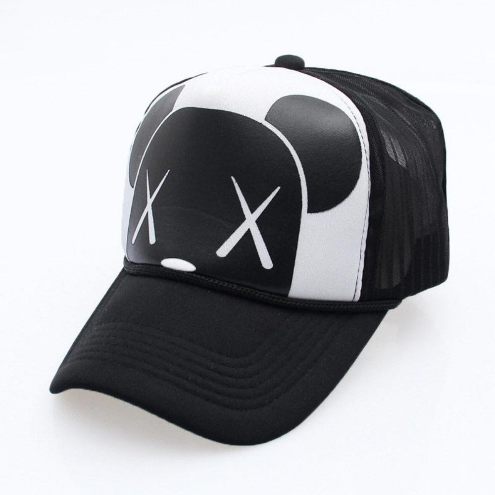 Men's Cartoon Dead Eyes Adjustable Baseball Cap-Men's Hats-A-X Eye Blk-Product Details: Men's Dead Eyes Character Adjustable Strap Mesh Back Panel Urban Baseball Snapback Material: Polyester Hat Size: One Size Head Circumference: 58 - 60 cm, Adjustable Size-Keyomi-Sook