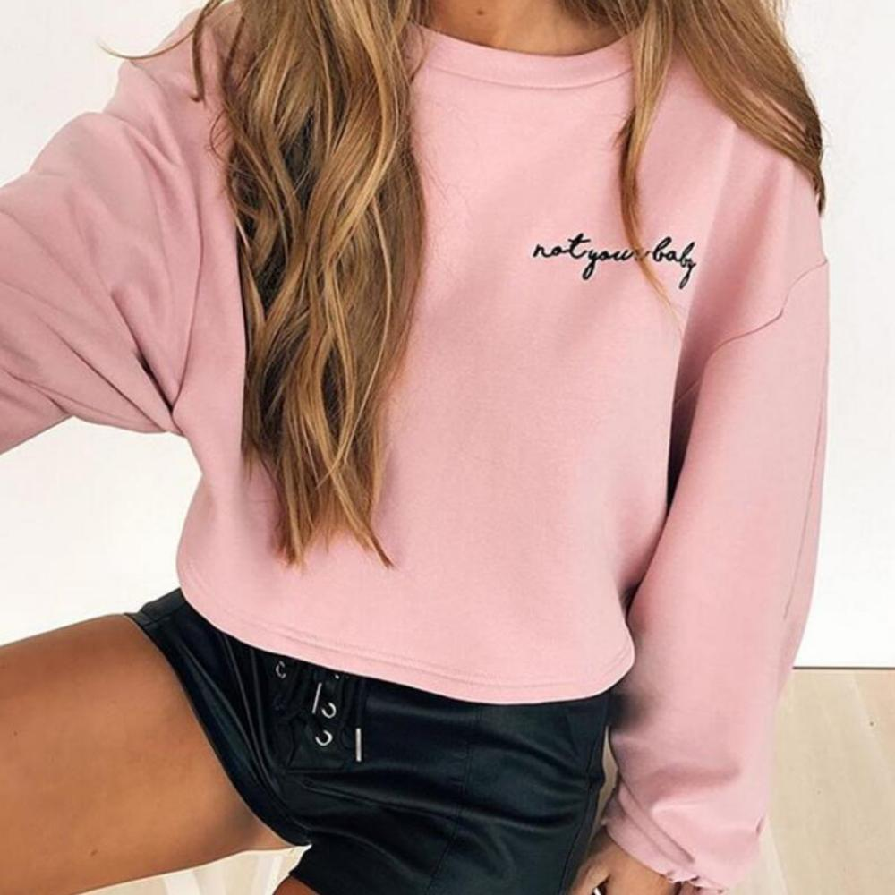 Women'S Letters Embroidery Crop Top Sweatshirt-Sweaters & Sweatshirts-Pink-S-Product Details: Women's Letters Embroidery Long Sleeve Crop Top Sweatshirt Material: Polyester, Spandex, Cotton Style: Casual Fabric Type: Knitted Sleeve Length (cm): Full Clothing Length: Regular Pattern Type: Letter Type: Pullovers Sleeve Style: Regular Collar: O-Neck Item Type: Hoodies, Sweatshirts Weight: 300 Size Chart:-Keyomi-Sook