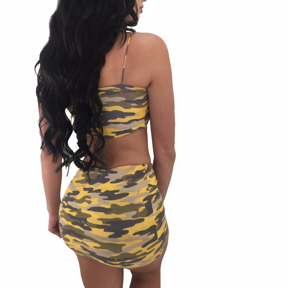 Women's Camouflage Strapless Crop Top & Skirt Set-Urban Wear Women-Product Details: Women's Plus Size Camouflage Strapless Crop Top & Mini Skirt Set Dresses Length: Above Knee, Mini Closure Type: Pullover Collar: Strapless Material: Polyester Pant Closure Type: Elastic Waist Pattern Type: Camouflage Size Chart:-Keyomi-Sook