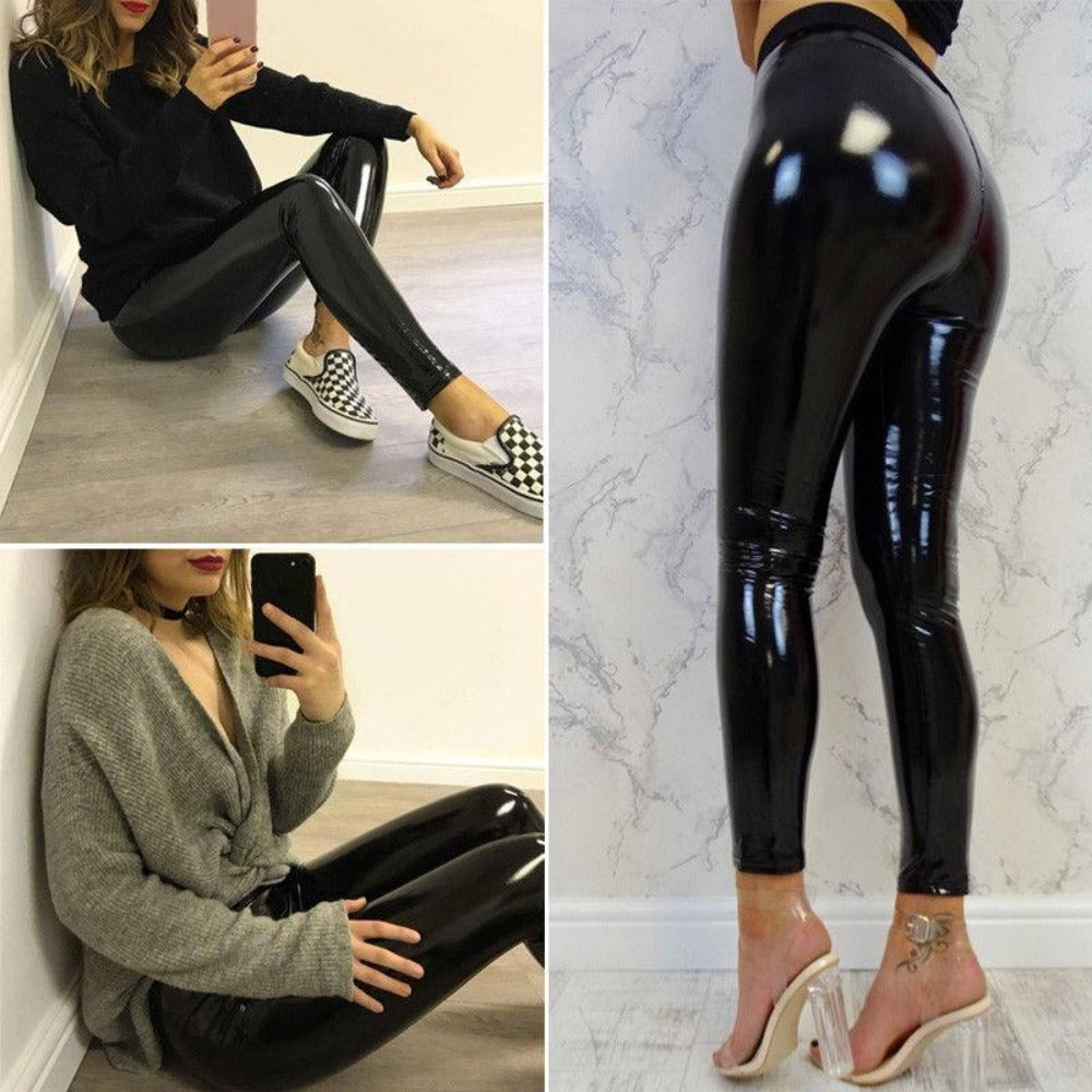 Women's Black Leather Shinny High Waist Pants-Leather ME UP-Product Details: Women's Black PU Leather Shinny Pencil Elastic High Waist Pants Material: Polyester Color: Black Size Chart:-Keyomi-Sook