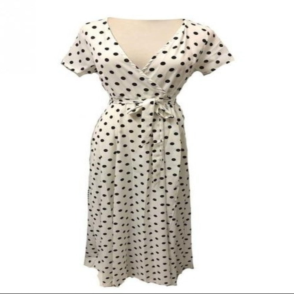 Women's Dot Evening Maxi Dress-Dresses-white-M-Product Details: Women's Red & White Dot Evening Maxi Dress Item name: Dress Style: Fashion Material: Polyester Pattern: Polka Dot Color: Black, White, Red, Navy Sleeve: Short Sleeve Collar: V-neck Size Chart:-Keyomi-Sook