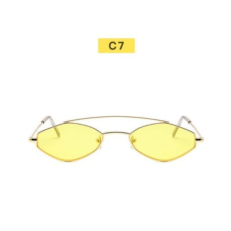90's Oval Nose Resting Sunglasses-Ladies Sunglasses-C7-Yellow Gold-Product Detail: 90s Sunglasses Women Retro Oval Sunglasses Lady Brand Designer Vintage Sunglasses Girls Eyeglasses UV400 Frame Material: Alloy Lenses Material: Acrylic Dimensions: Lens Height: 30 mm Lens Width: 52 mm-Keyomi-Sook