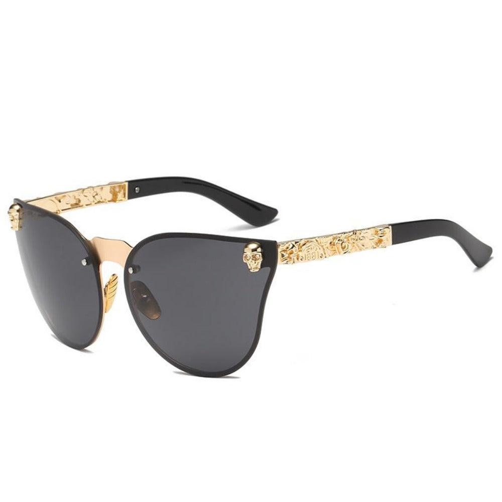 Women's Gothic Style Skull Frame Sunglasses-Ladies Sunglasses-C3-Gold-Black-Product Details: Women Gothic Sunglasses Skull Frame Metal Temple High Quality Sun glasses Protect Yours Eyes While Reflecting Your Style Lenses Optical Attribute: Mirror Style: Shield Frame Material: Alloy Lenses Material: Polycarbonate Dimensions: Lens Width: 58 mm Lens Height: 45 mm-Keyomi-Sook